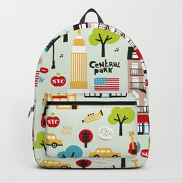 Fun New York City Manhattan travel icons life hipster pattern Backpack