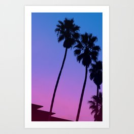Pink to Blue Fade Palm Trees Art Print