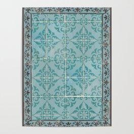 Victorian Turquoise Ceramic Tiles Poster