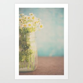 A mason jar full of pretty flowers. Art Print