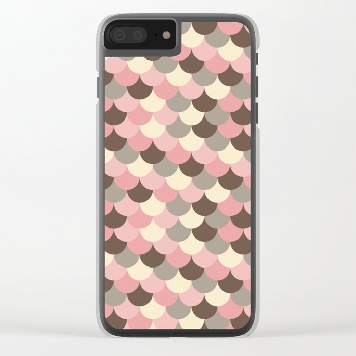 Strawberry Mouse Fish Scale Pattern Clear iPhone Case