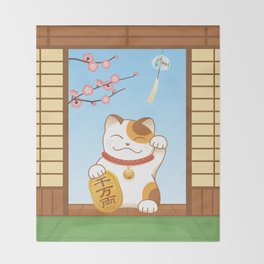 Maneki Neko Throw Blanket