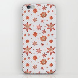Cats on  red-orange flowers iPhone Skin