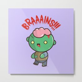 Zombie Kawaii | BRAAAINS!!!! BRAINS!! Halloween Metal Print