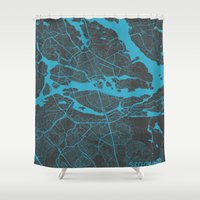 stockholm Shower Curtains featuring Stockholm Map by Map Map Maps