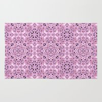 wallpaper Area & Throw Rugs featuring Pink kaleidoscope wallpaper by David Zydd
