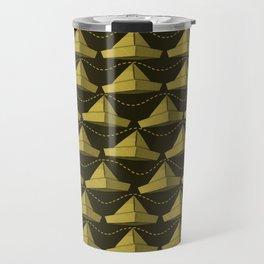 Paper Hats Pattern | Dark Yellow Travel Mug
