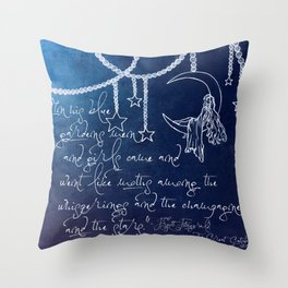 Blue Gardens and Stars Quote Throw Pillow