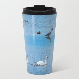 A Family of Swans Swim by a Great Blue Heron at Henrys Lake, Idaho Travel Mug