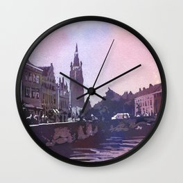 Church rising over medieval buildings of Bruges, Belgium at Jan Van Eyck Square.  Watercolor painting of Bruges Belgium art. Wall Clock