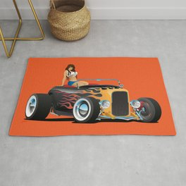 Custom Hot Rod Roadster Car with Flames and Sexy Woman Rug
