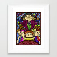 willy wonka Framed Art Prints featuring Willy Wonka by Carol Wellart