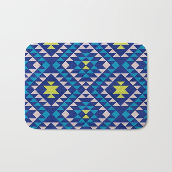 Tribal geometric pattern - blue Bath Mat
