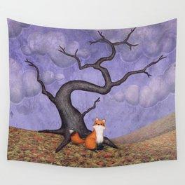 the rainy fox Wall Tapestry