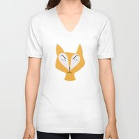 mr fox V-neck T-shirts featuring Mr Fox by Lydia Coventry