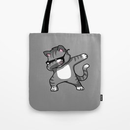 Dabbing Cat Grey Tote Bag