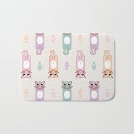 Candy Cat Pastel in Light Grey Bath Mat