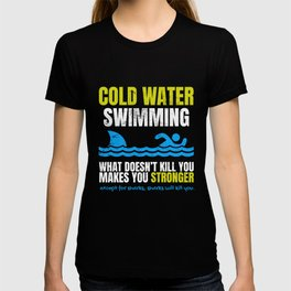 Funny Cold Water Swimming Shark  T-shirt
