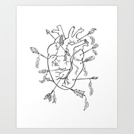 Arrows to the heart in B&W Art Print
