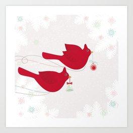 Red Birds. Christmas. Art Print