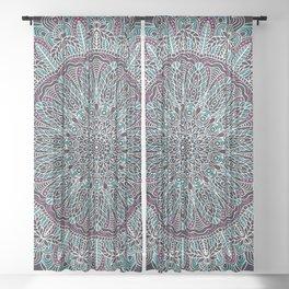 Mandala white pink and cyan lace Sheer Curtain