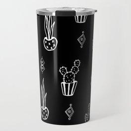 Boho Cactus, Black and White Succulent Art Travel Mug