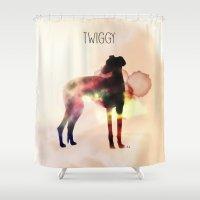 greyhound Shower Curtains featuring Twiggy greyhound by Ingrid Winkler