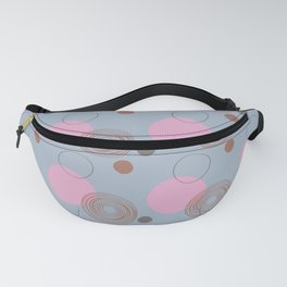 Pink and Gray Sketchy Circles and Dots Pattern Fanny Pack