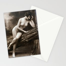 Vintage Nude Art Studies No. 62 Lady Sitting On A Log Stationery Cards