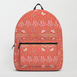 Coral Daisies Patchwork Cosy Homely Quilt Design Backpack