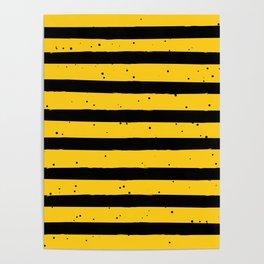 Black Yellow Vintage Stripes Pattern Poster