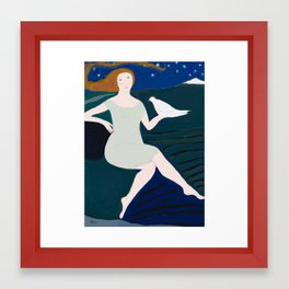 Lady with White Bird Framed Art Print