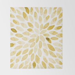 Watercolor brush strokes - yellow Throw Blanket