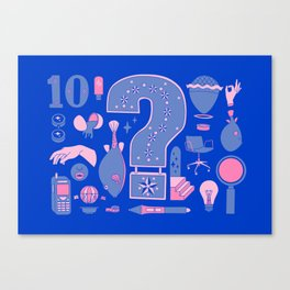 Questionable Collage Blue/Pink Canvas Print