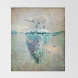 Polar Bear Adrift Throw Blanket