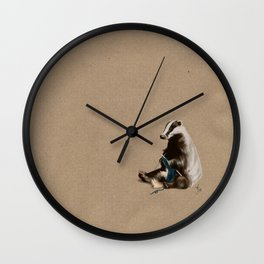Badger Knitting a Scarf Wall Clock