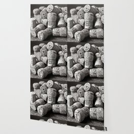 Cork of Champagne in Black and White Wallpaper