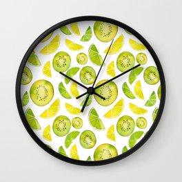 Lemon Lime Kiwi Pattern Wall Clock
