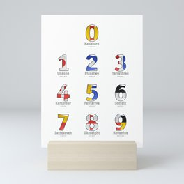 Navy Alphabet Numbers - Leather Mini Art Print