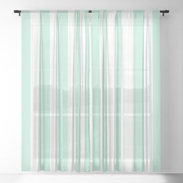 Mint green and White stripes-vertical Sheer Curtain
