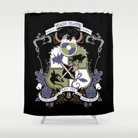 how to train your dragon Shower Curtains featuring Dragon Training Crest - How to Train Your Dragon by CaptainLaserBeam