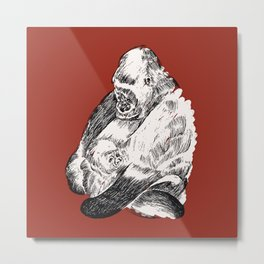 Gorilla and Baby Metal Print