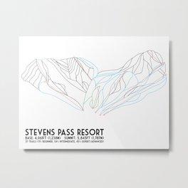 Stevens Pass, WA - Minimalist Trail Map Metal Print