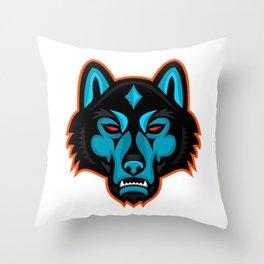 Timber Wolf Head Sports Mascot Throw Pillow