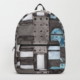 Gray Facade with Lighted Windows Backpack