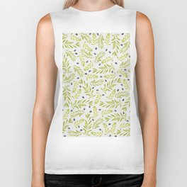 Watercolor Olive Branches Pattern Biker Tank