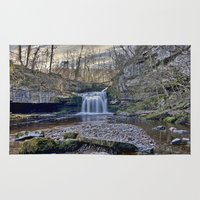 tim burton Area & Throw Rugs featuring West Burton Falls by TK Photography