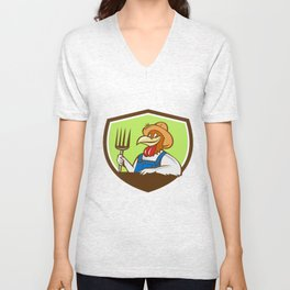 Chicken Farmer Pitchfork Crest Cartoon Unisex V-Neck