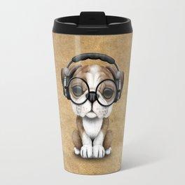 English Bulldog Puppy Dj Wearing Headphones and Glasses Travel Mug