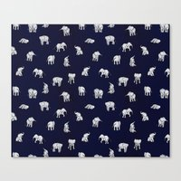 indian Canvas Prints featuring Indian Baby Elephants in Navy by Estelle F